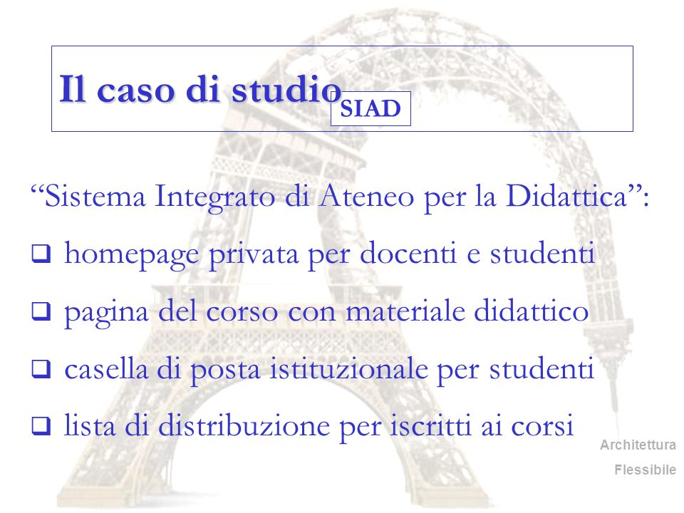 Il caso di studio Sistema Integrato di Ateneo per la Didattica :