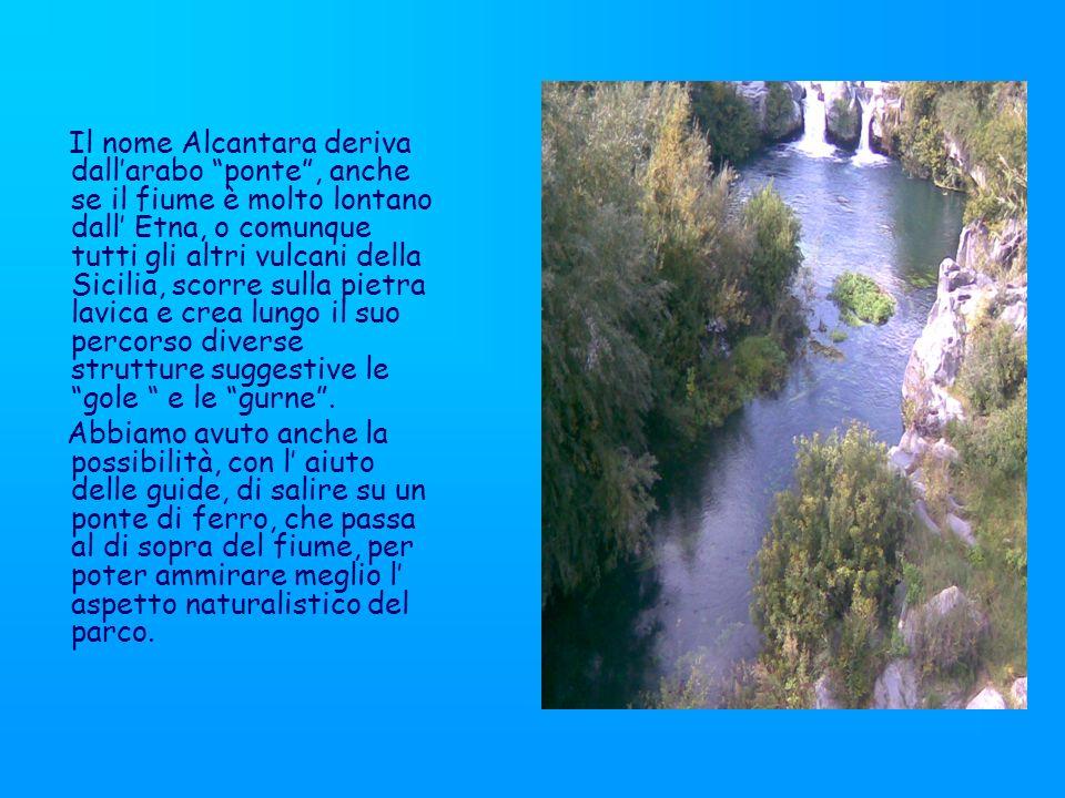 Il nome Alcantara deriva dall'arabo ponte , anche se il fiume è molto lontano dall' Etna, o comunque tutti gli altri vulcani della Sicilia, scorre sulla pietra lavica e crea lungo il suo percorso diverse strutture suggestive le gole e le gurne .