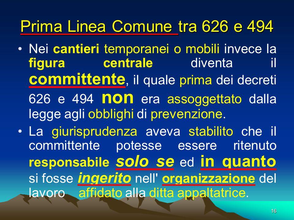 Prima Linea Comune tra 626 e 494
