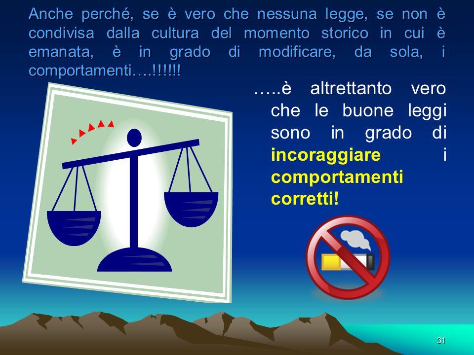 Anche perché, se è vero che nessuna legge, se non è condivisa dalla cultura del momento storico in cui è emanata, è in grado di modificare, da sola, i comportamenti….!!!!!!