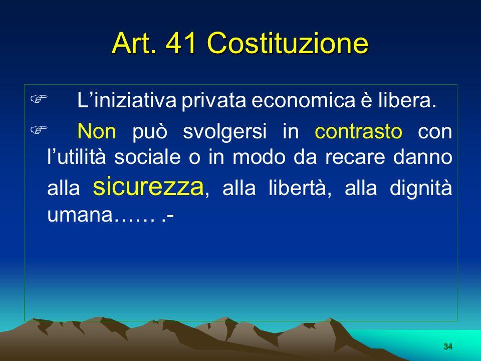 Art. 41 Costituzione L'iniziativa privata economica è libera.