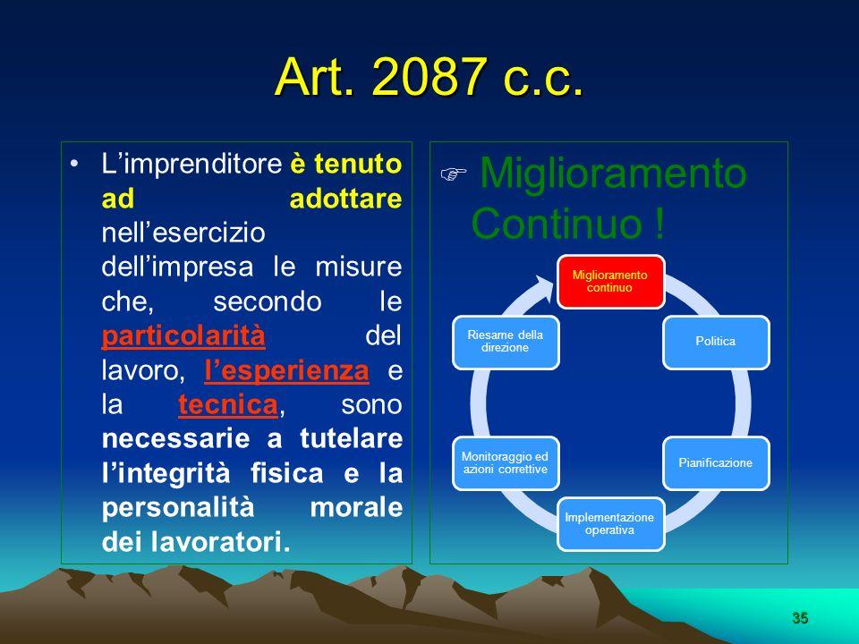 Art. 2087 c.c. Miglioramento Continuo !