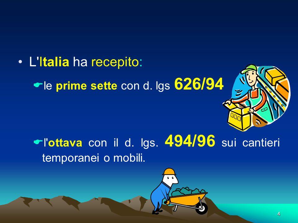 L Italia ha recepito: le prime sette con d. lgs 626/94