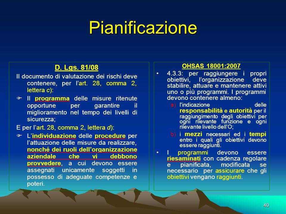 Pianificazione D. Lgs. 81/08 OHSAS 18001:2007
