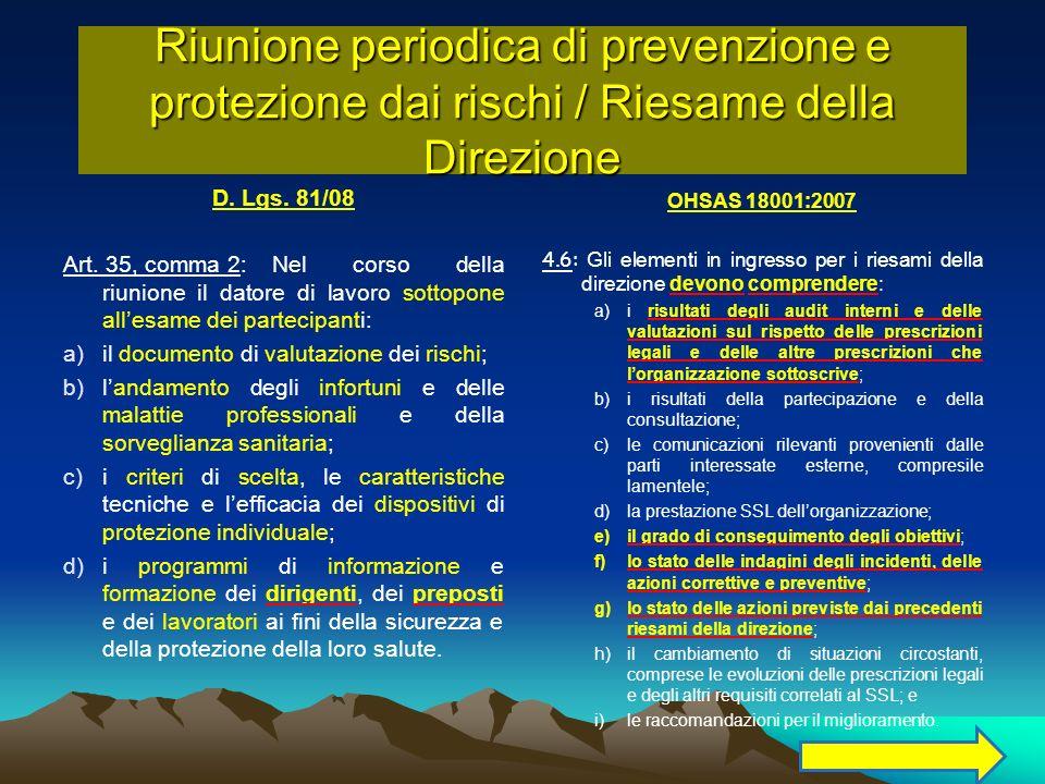 Riunione periodica di prevenzione e protezione dai rischi / Riesame della Direzione