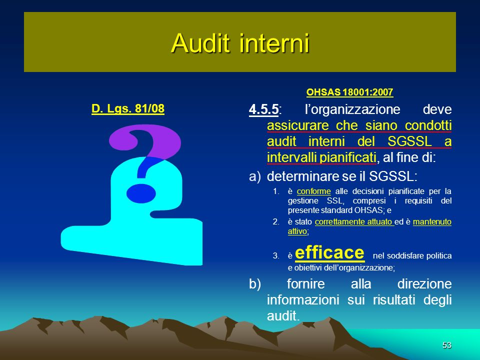 Audit interni OHSAS 18001:2007.