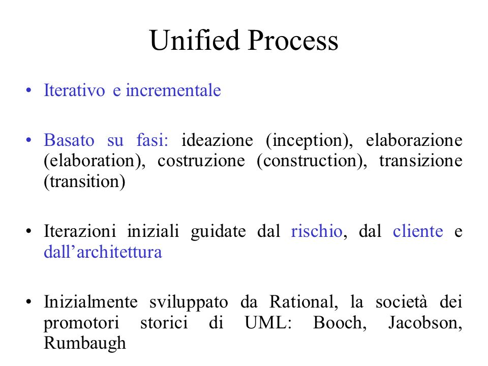 Unified Process Iterativo e incrementale
