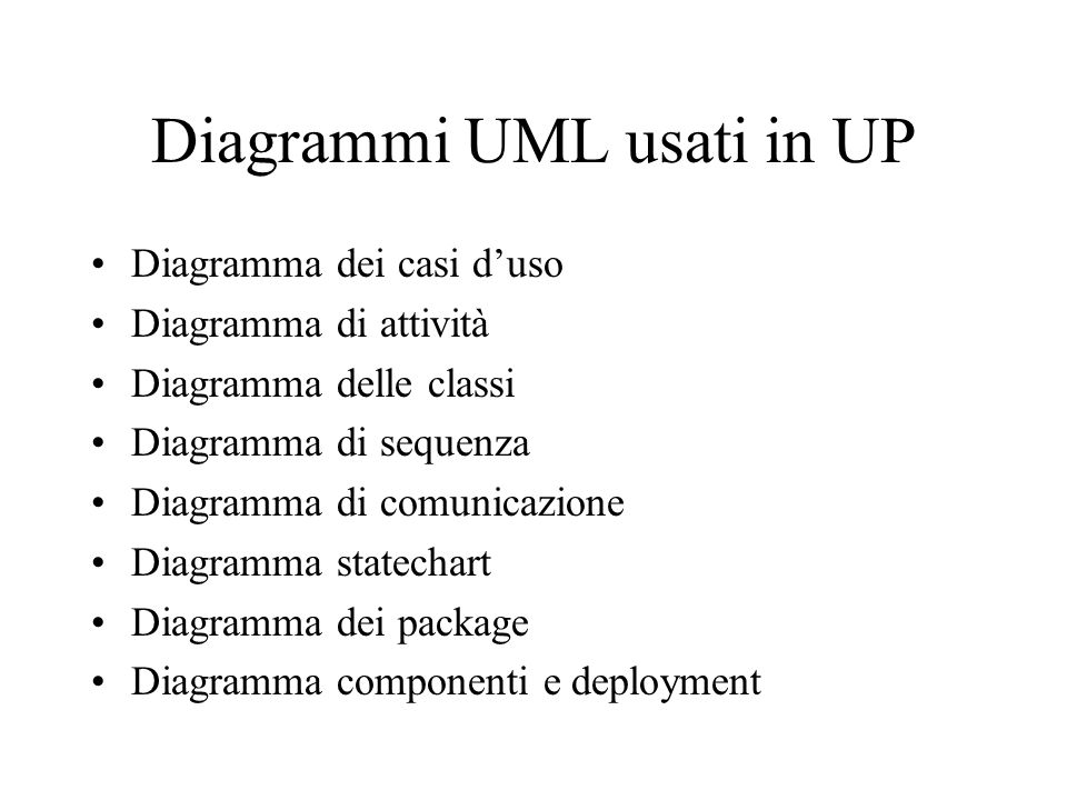 Diagrammi UML usati in UP