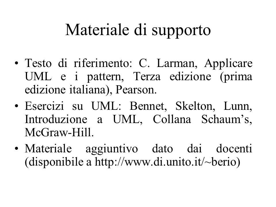 Materiale di supportoTesto di riferimento: C. Larman, Applicare UML e i pattern, Terza edizione (prima edizione italiana), Pearson.