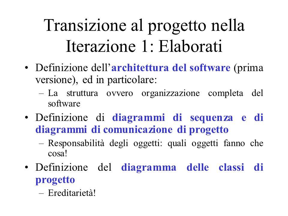 Transizione al progetto nella Iterazione 1: Elaborati