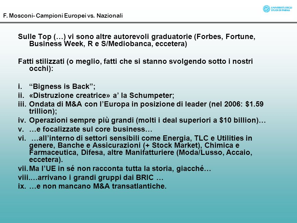«Distruzione creatrice» a' la Schumpeter;