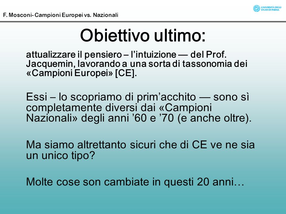 F. Mosconi- Campioni Europei vs. Nazionali