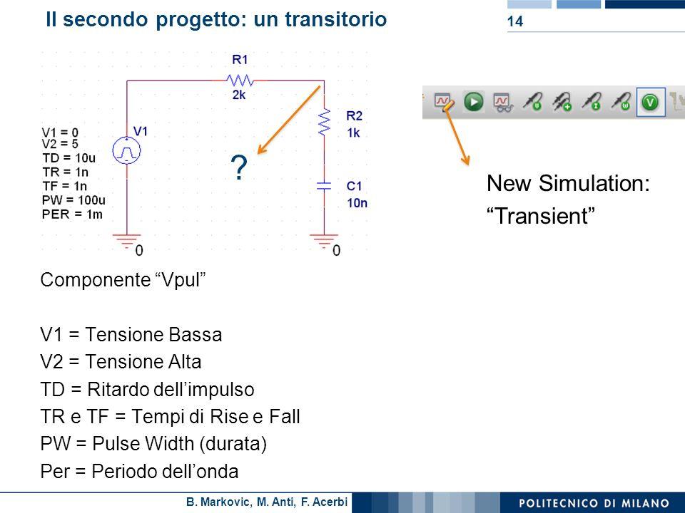 Il secondo progetto: un transitorio