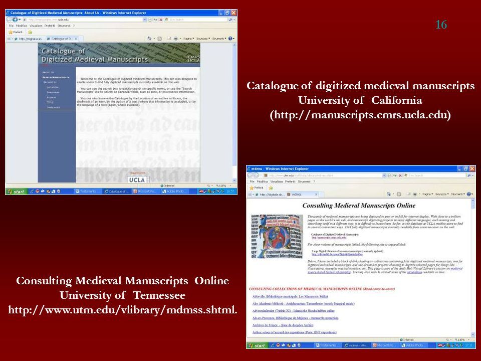 16 Catalogue of digitized medieval manuscripts
