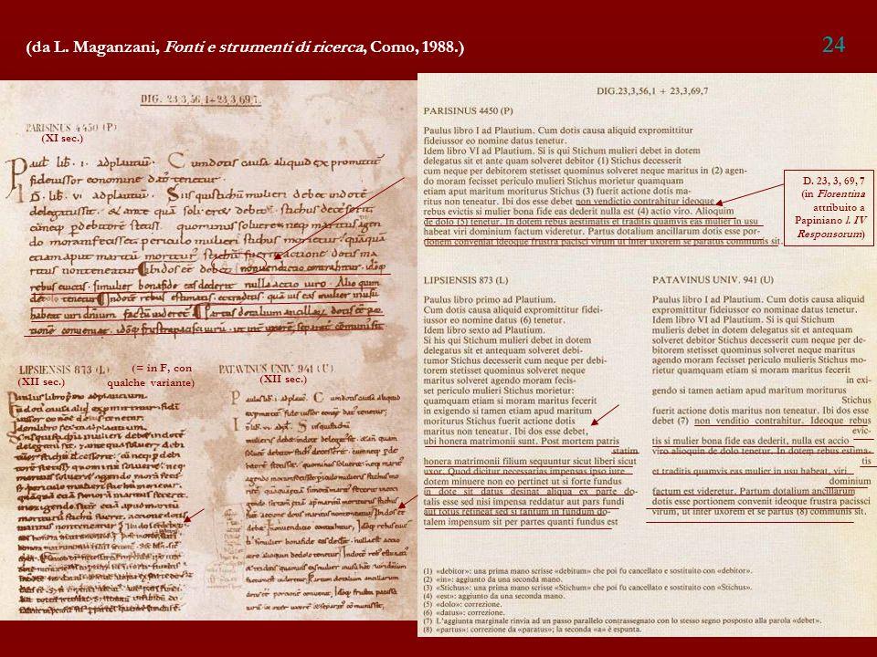 24 (da L. Maganzani, Fonti e strumenti di ricerca, Como, 1988.)