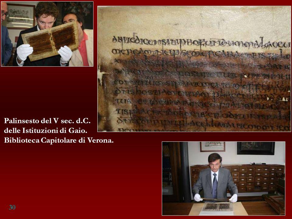 delle Istituzioni di Gaio. Biblioteca Capitolare di Verona.