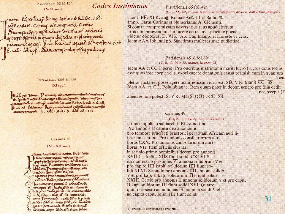 31 Codex Iustinianus (X-XI sec.)