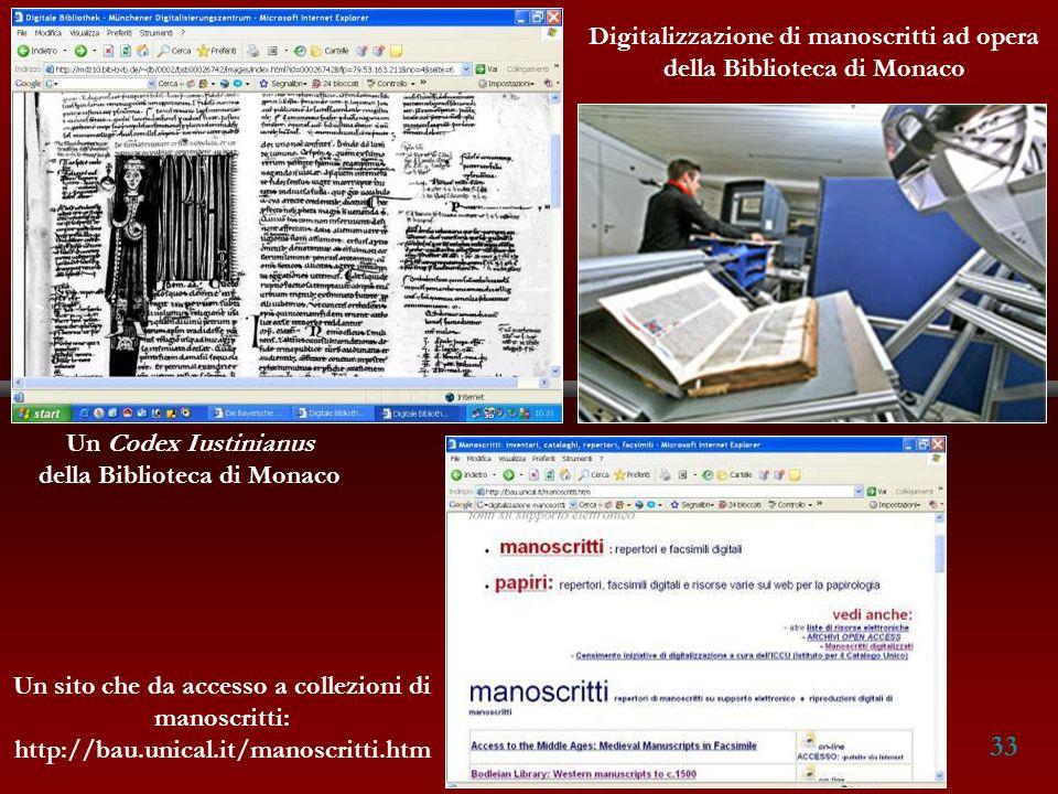 33 Digitalizzazione di manoscritti ad opera della Biblioteca di Monaco