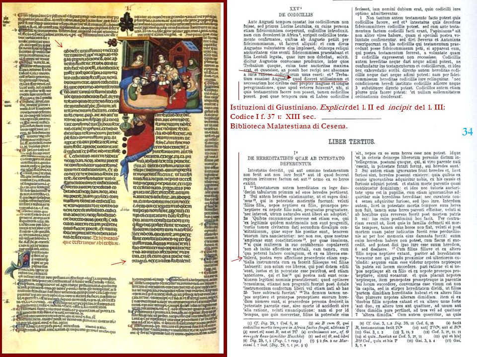 Istituzioni di Giustiniano. Explicit del l. II ed incipit del l. III: