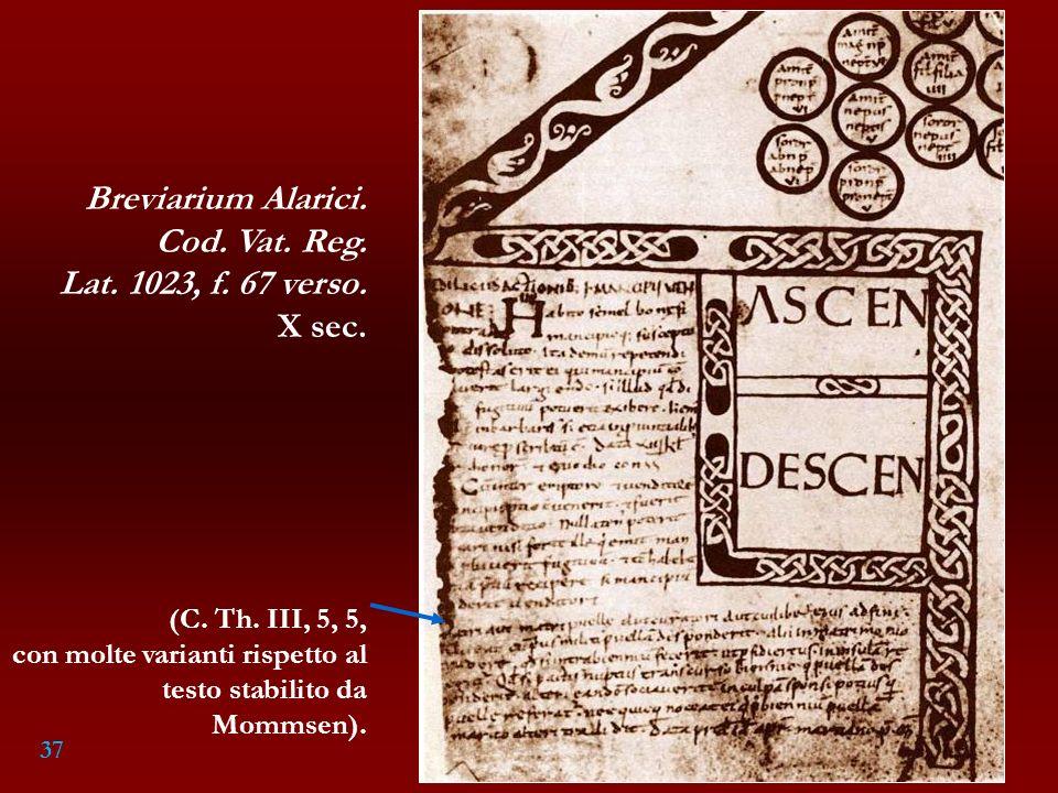 Breviarium Alarici. Cod. Vat. Reg. Lat. 1023, f. 67 verso. X sec.