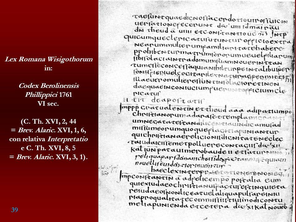 Lex Romana Wisigothorum con relativa Interpretatio