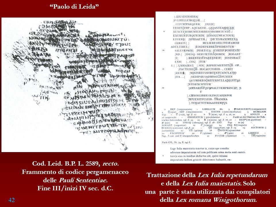 Frammento di codice pergamenaceo delle Pauli Sententiae.