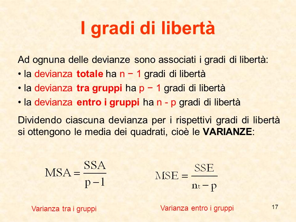 I gradi di libertà Ad ognuna delle devianze sono associati i gradi di libertà: • la devianza totale ha n − 1 gradi di libertà.