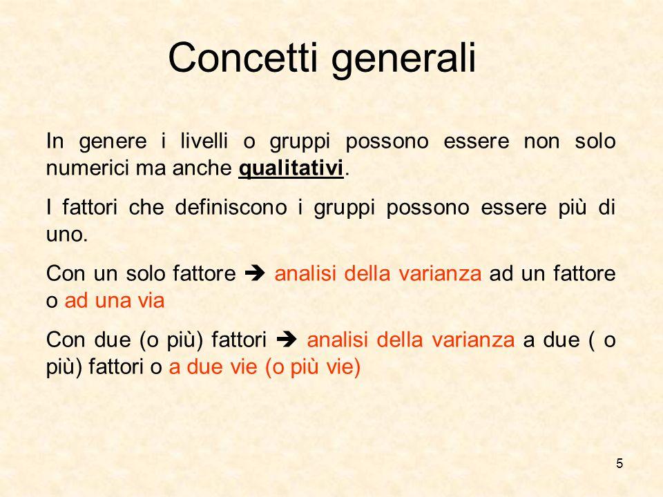 Concetti generali In genere i livelli o gruppi possono essere non solo numerici ma anche qualitativi.