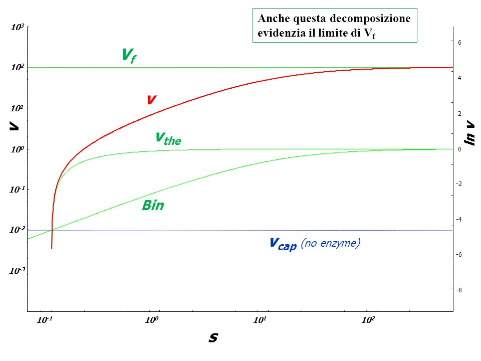 Vf v v vthe vcap (no enzyme) s ln v Bin