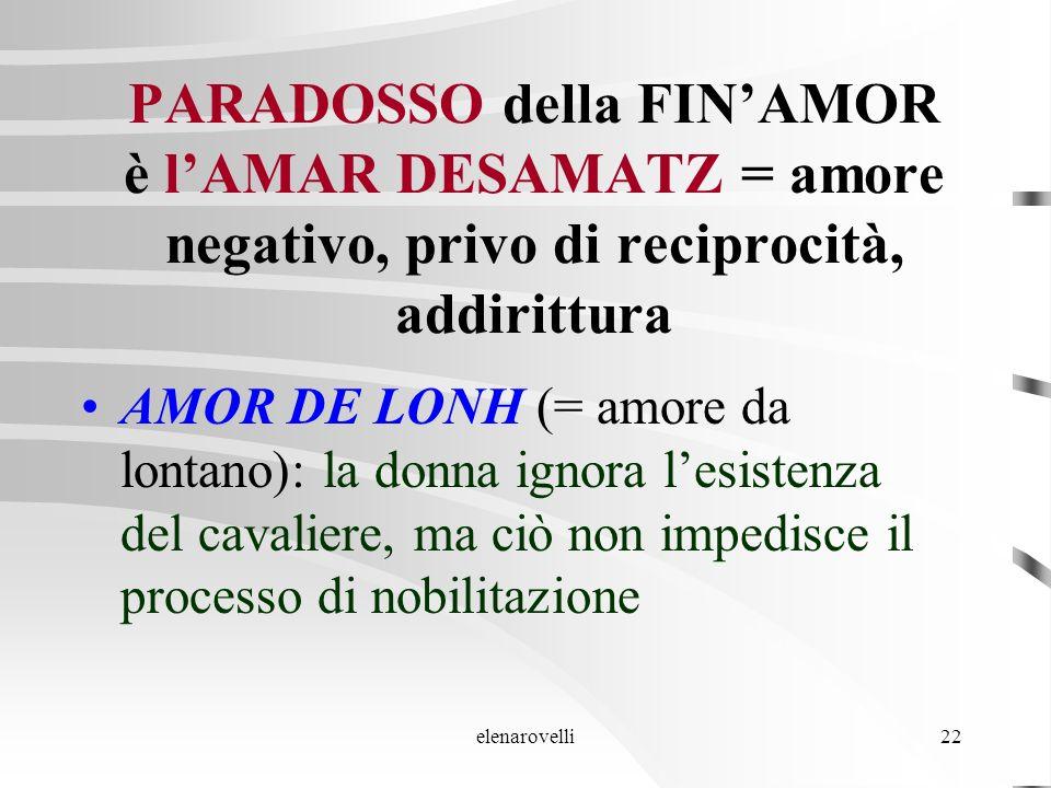 PARADOSSO della FIN'AMOR è l'AMAR DESAMATZ = amore negativo, privo di reciprocità, addirittura
