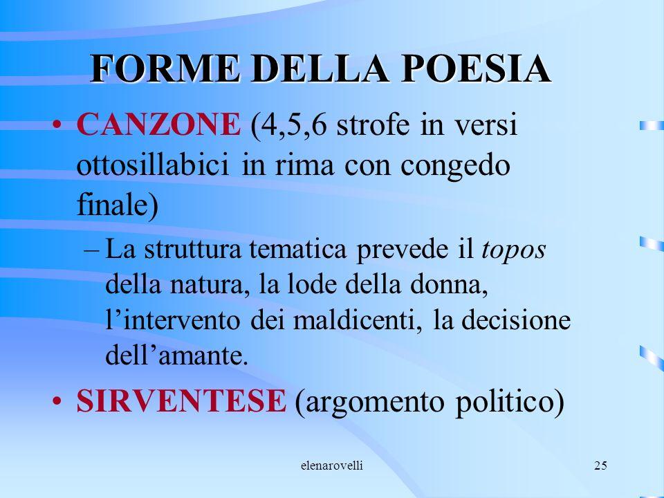 FORME DELLA POESIA CANZONE (4,5,6 strofe in versi ottosillabici in rima con congedo finale)