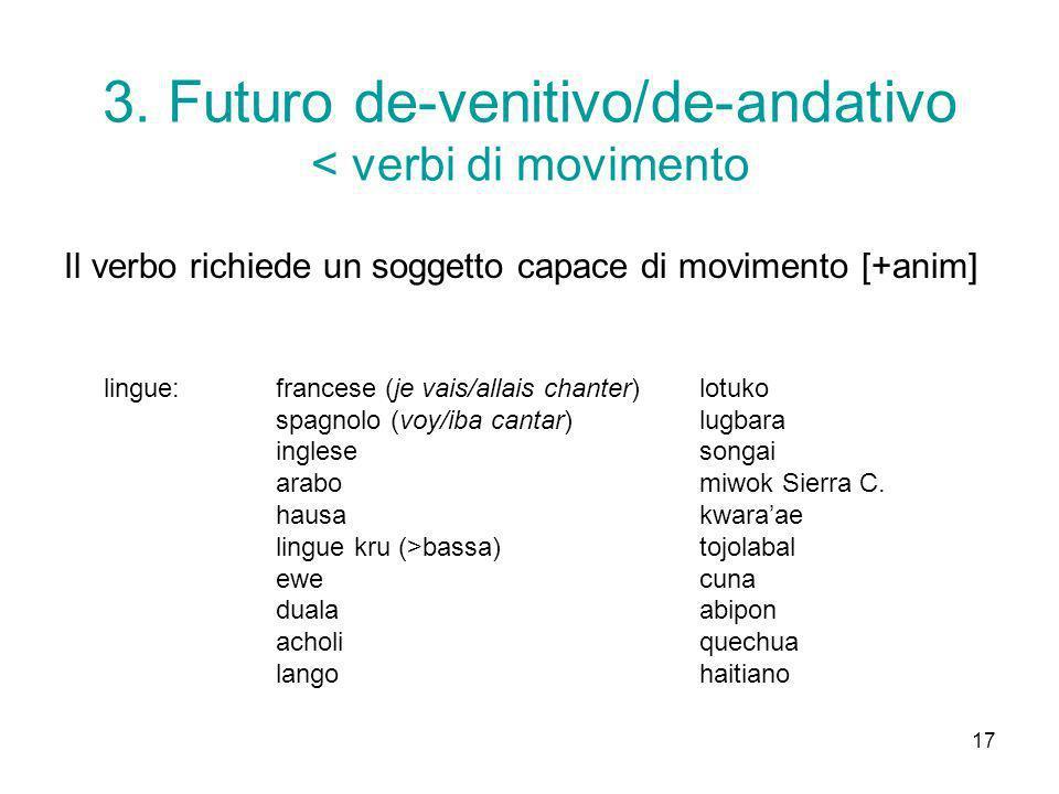 3. Futuro de-venitivo/de-andativo < verbi di movimento