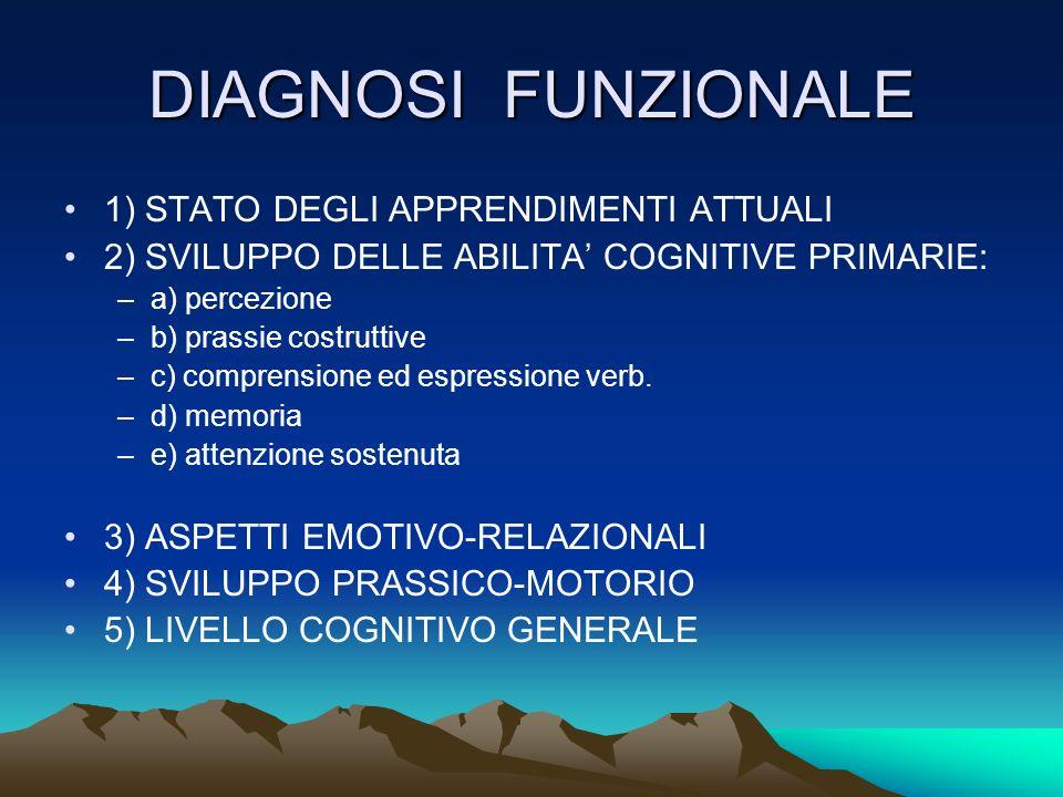 DIAGNOSI FUNZIONALE 1) STATO DEGLI APPRENDIMENTI ATTUALI