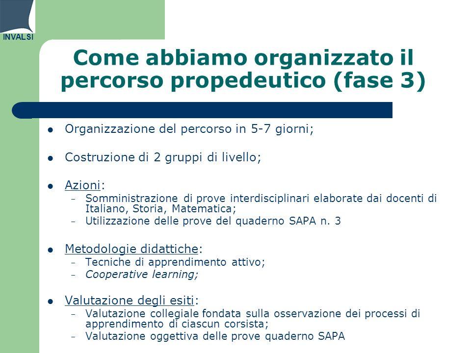 Come abbiamo organizzato il percorso propedeutico (fase 3)