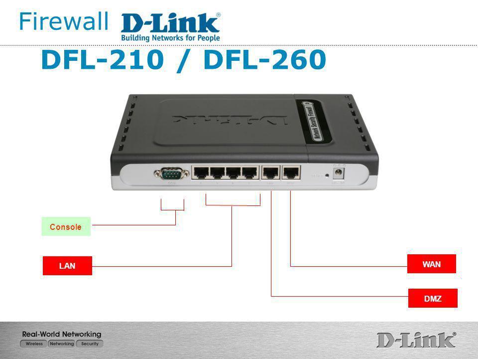 Firewall DFL-210 / DFL-260 Console LAN WAN DMZ