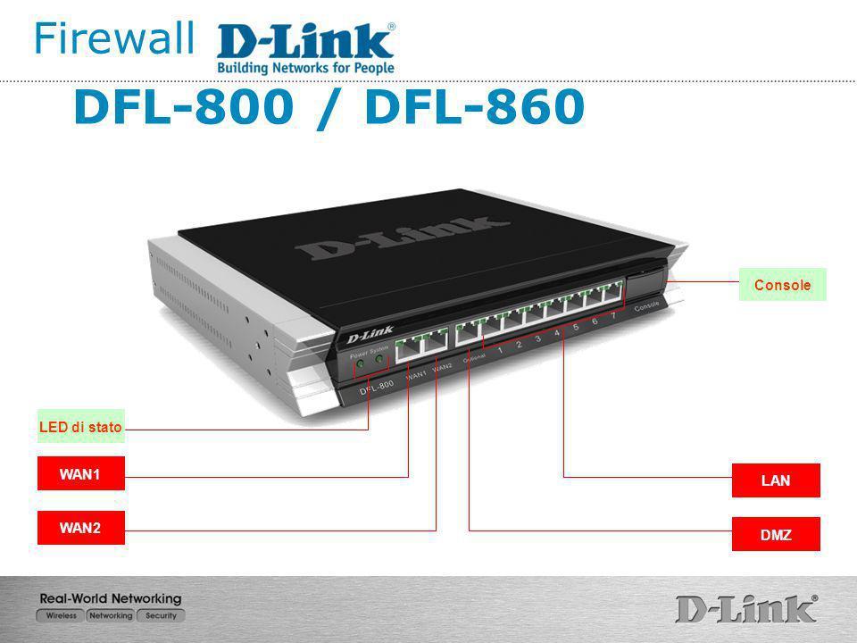 Firewall DFL-800 / DFL-860 Console LED di stato WAN1 LAN WAN2 DMZ