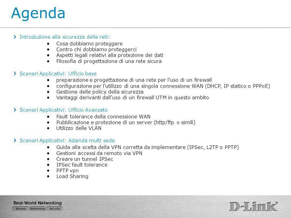 Agenda Introduzione alla sicurezza delle reti: