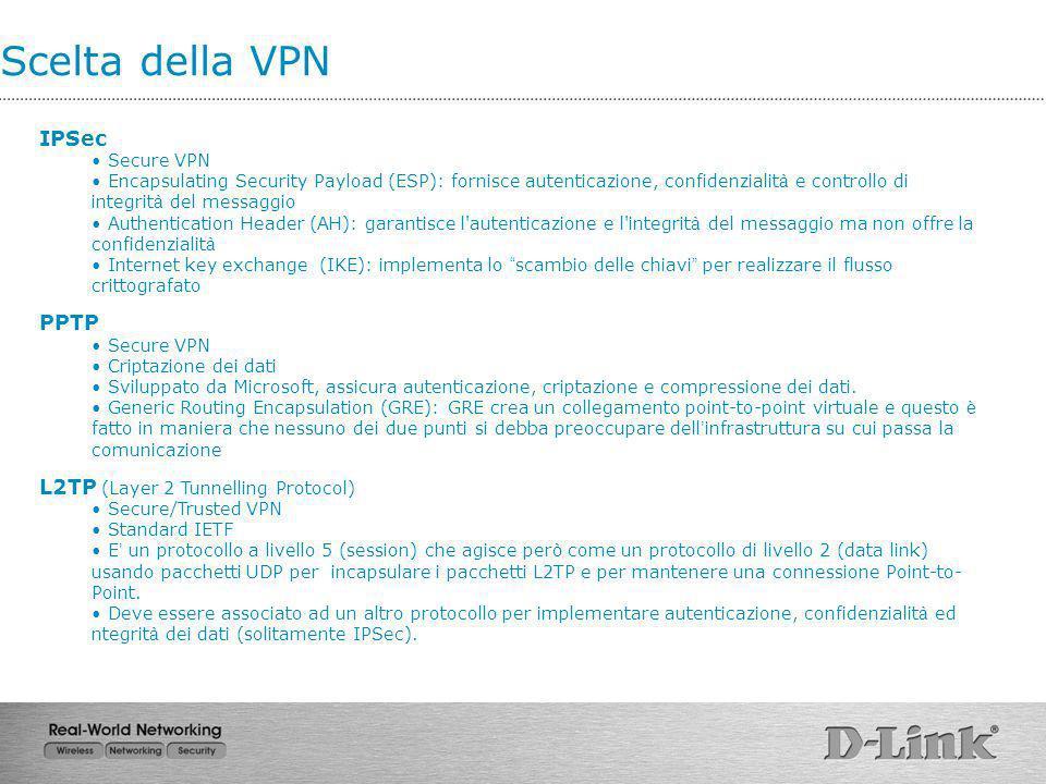 Scelta della VPN IPSec PPTP L2TP (Layer 2 Tunnelling Protocol)