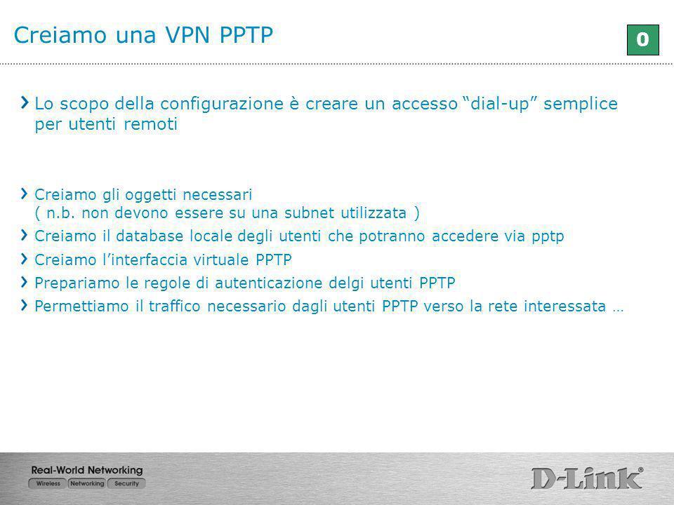 Creiamo una VPN PPTP Lo scopo della configurazione è creare un accesso dial-up semplice per utenti remoti.