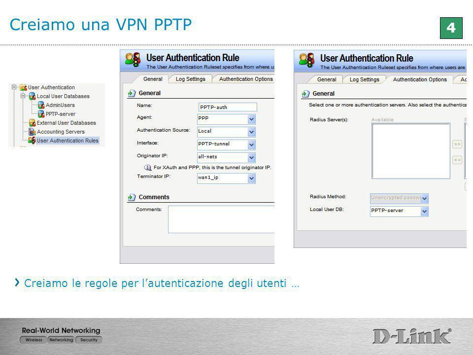 Creiamo una VPN PPTP 4 Creiamo le regole per l'autenticazione degli utenti …