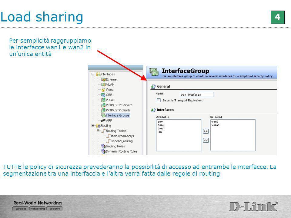 Load sharing 4. Per semplicità raggruppiamo le interfacce wan1 e wan2 in un'unica entità.