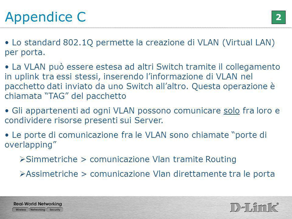 Appendice C 2. Lo standard 802.1Q permette la creazione di VLAN (Virtual LAN) per porta.