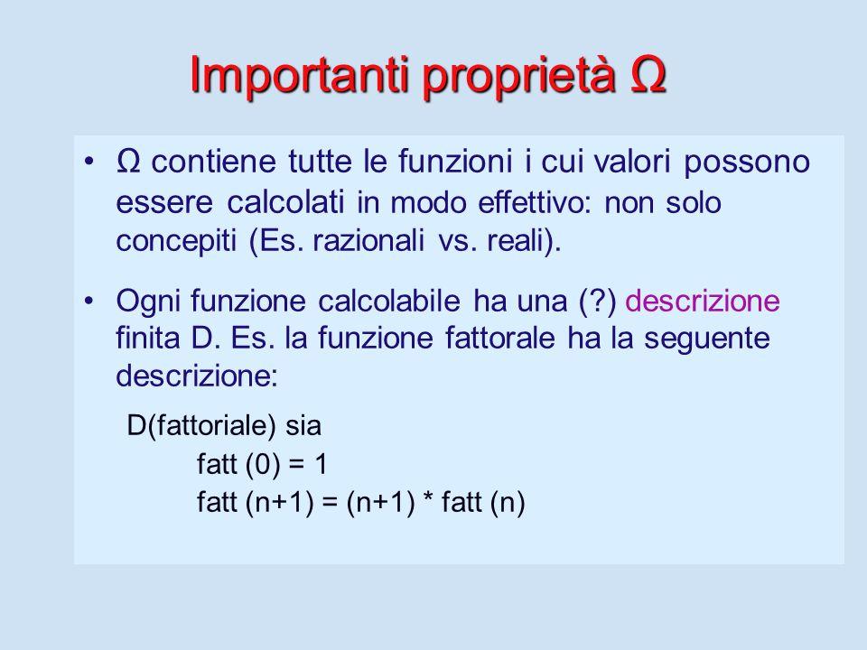 Importanti proprietà Ω