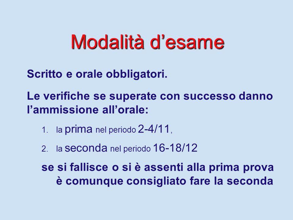 Modalità d'esame Scritto e orale obbligatori.