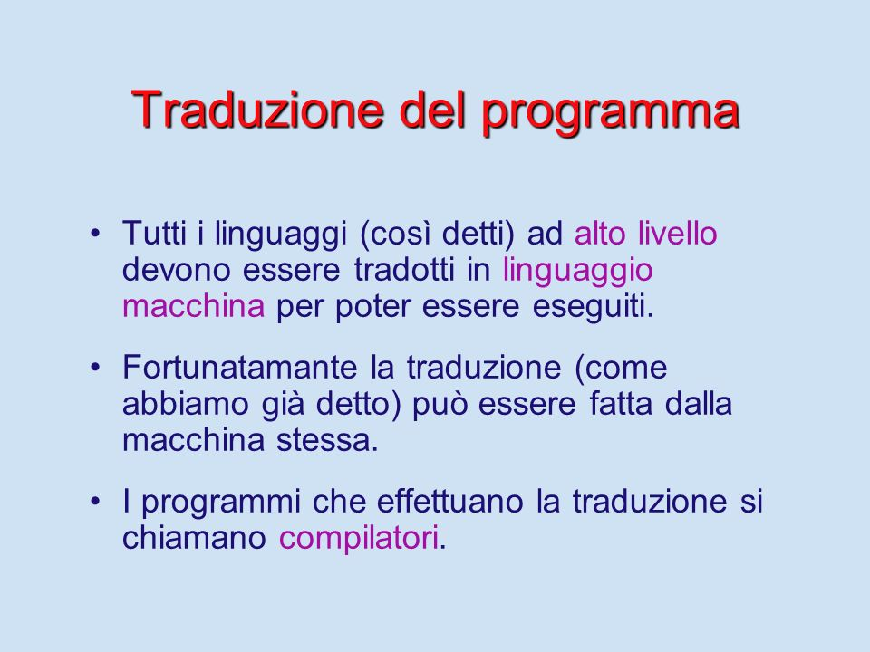 Traduzione del programma