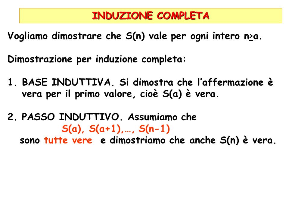 INDUZIONE COMPLETAVogliamo dimostrare che S(n) vale per ogni intero n>a. Dimostrazione per induzione completa: