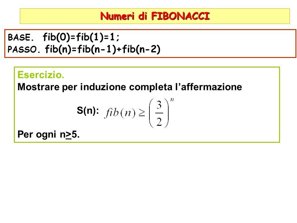 Mostrare per induzione completa l'affermazione S(n): Per ogni n>5.