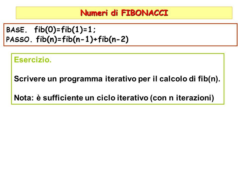 Scrivere un programma iterativo per il calcolo di fib(n).