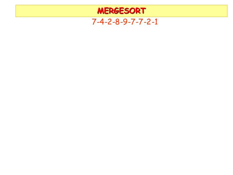 MERGESORT 7-4-2-8-9-7-7-2-1