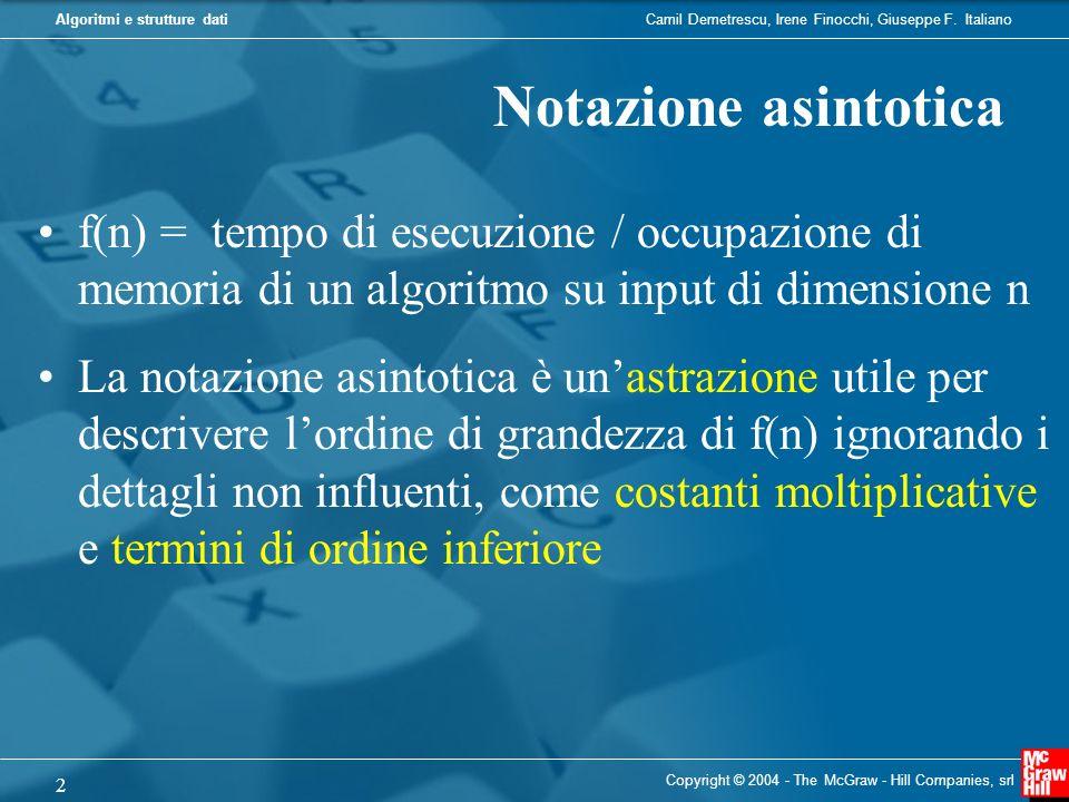 Notazione asintotica f(n) = tempo di esecuzione / occupazione di memoria di un algoritmo su input di dimensione n.